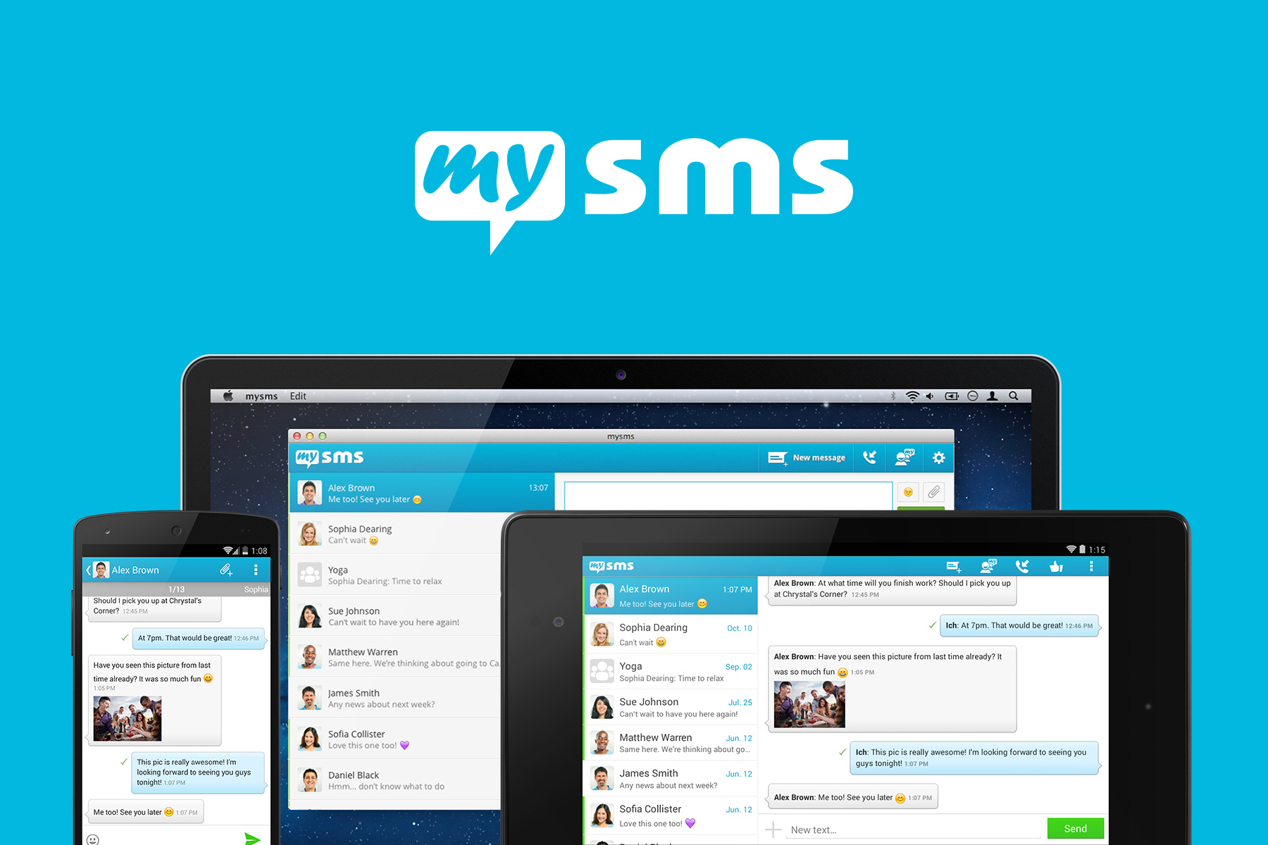 Text from computer, tablet and smartphone with our mysms